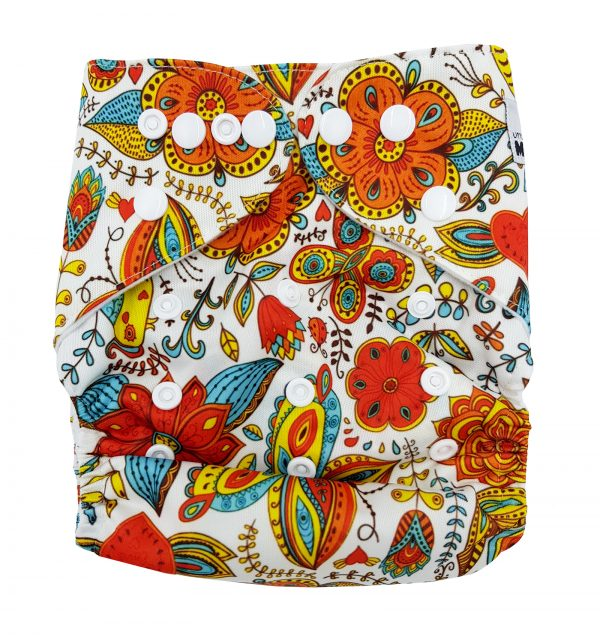 Retro Orange Flowers Cloth Nappy