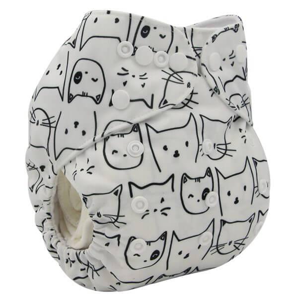 black White Cat Cloth Diaper