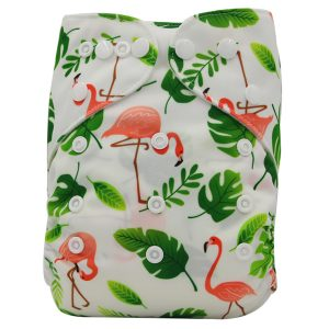 Flamingos Green Leaves Nappy
