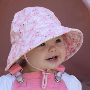 Girls Bucket Hat Swan Front