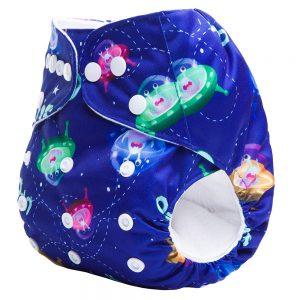 Blue UFO Cloth Nappy Side