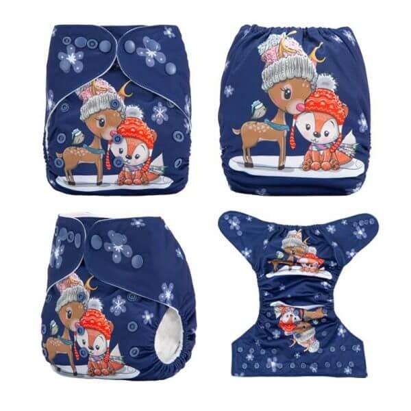Xmas Cloth Nappy Deer Fox