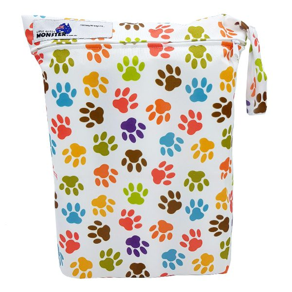 Colourful Paw Prints Wet Bag Front