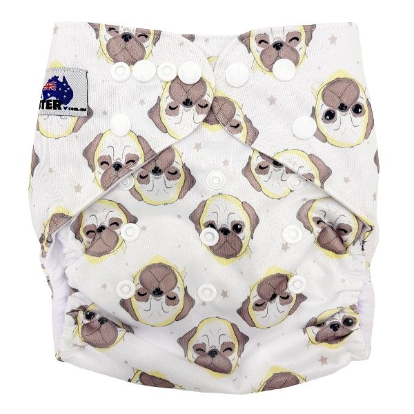 Pug Dogs Cloth Nappy Front