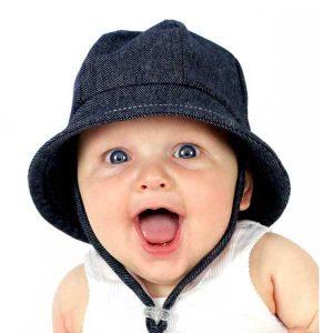 Baby Bucket Hat Denim Front