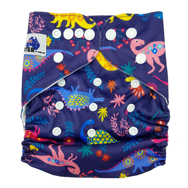 Delightful Dinos New Reusable Modern Cloth Nappy MCN FREE insert