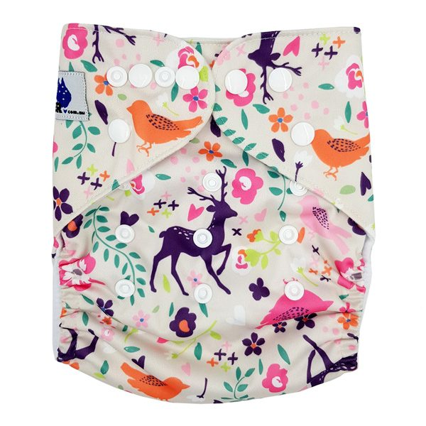 Purple Deer Cloth Nappy Front