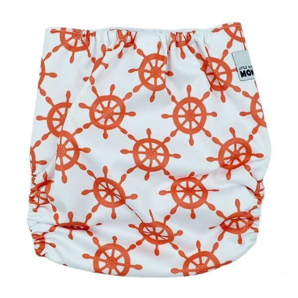 Orange Ship Wheels Cloth Nappy Back