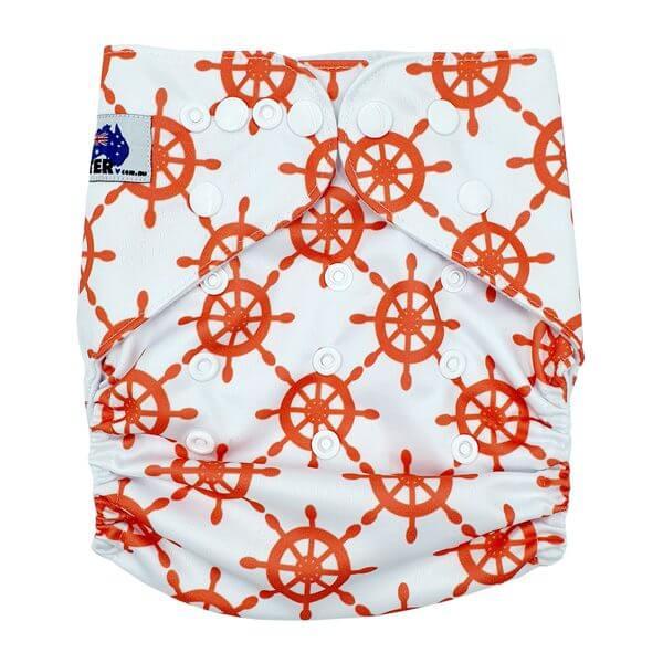 Orange Ship Wheels Cloth Nappy Front