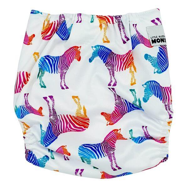 Rainbow Zebra Cloth Nappy Back