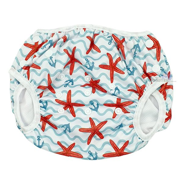 Red Starfish XL Toddler Swim Nappy Front