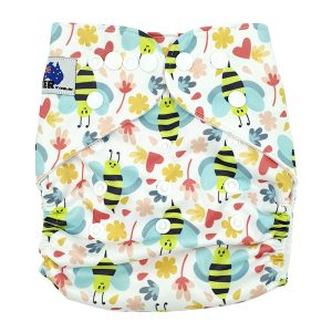 Bees and Hearts Cloth Nappy Front