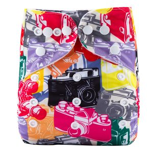 Colourful Cameras Modern Cloth Nappy front