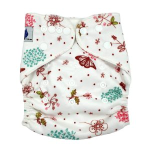 Minky Pretty Flowers Cloth Nappy Front