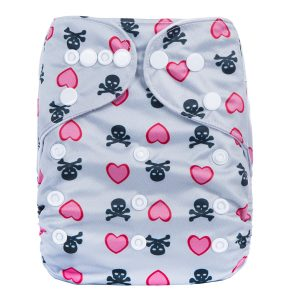 Pink Heart Skulls Cloth Nappy