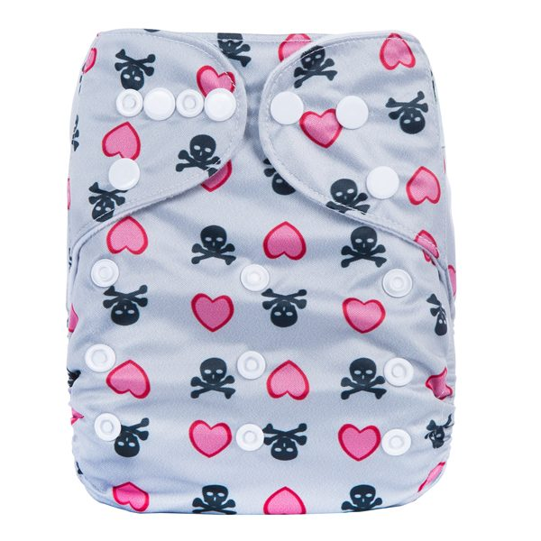 Pink Heart Skulls Cloth Nappy