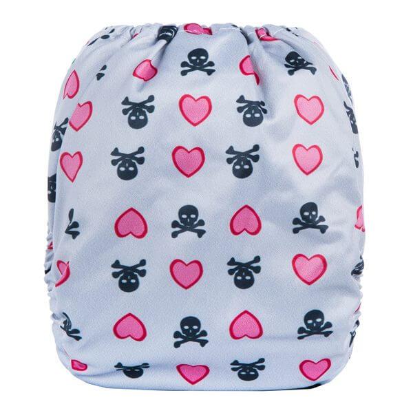 Pink Heart Skulls Cloth Nappy back