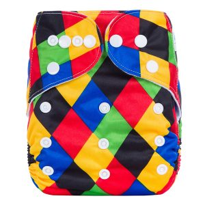 Rainbow Checkers Cloth Nappy Front