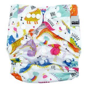 Rainbow Dino Cloth Nappy Front