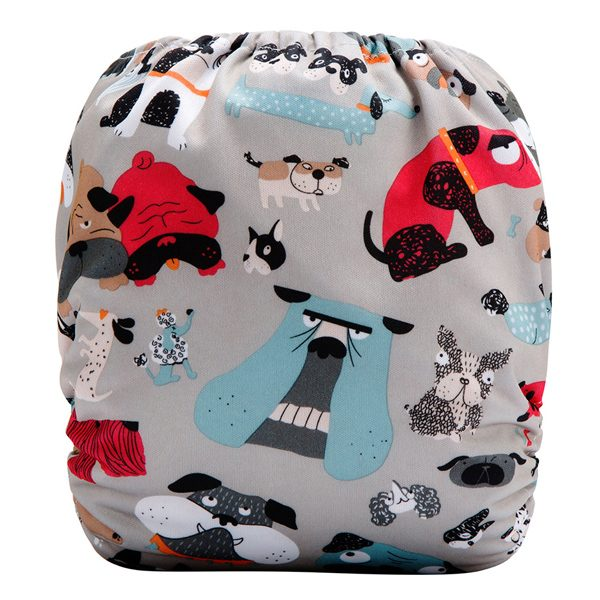 Red Blue Dogs Cloth Nappy Back