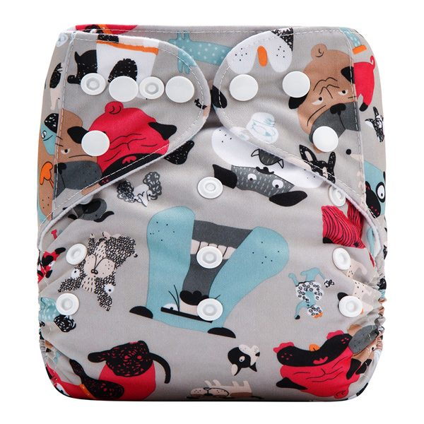Red Blue Dogs Cloth Nappy Front