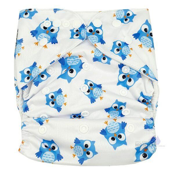 Blue Owls XL Junior Cloth Nappy Front