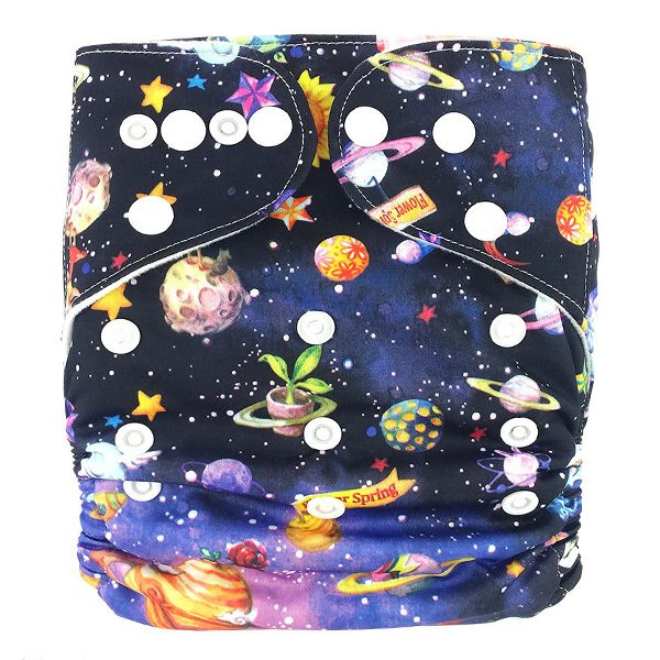 Flowers in Space Cloth Nappy Front