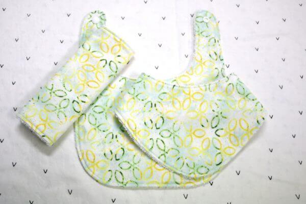Yellow Green Flowers 3 Piece Bib Set
