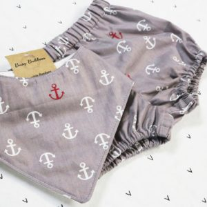 Grey Sailor Bloomer Set with Bib