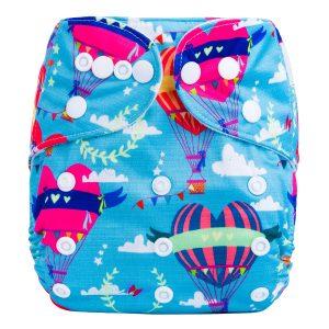 Pink Hot Air Balloons Cloth Nappy Front