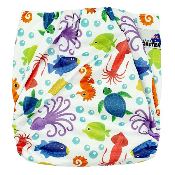 Underwater Sea Animals XL Toddler Cloth Nappy Back