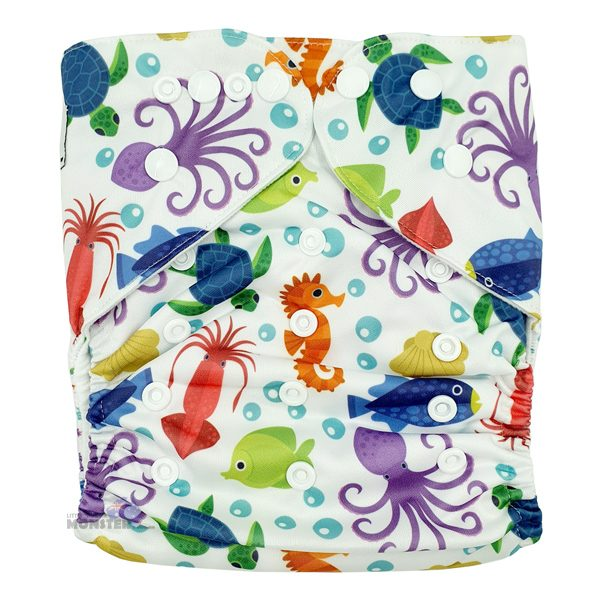 Underwater Sea Animals XL Toddler Cloth Nappy Front