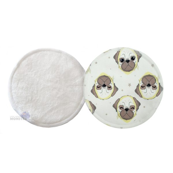 Pug Dog Bamboo Breast Pad Front Back