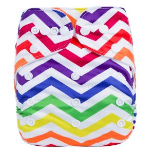 Rainbow Chevron Cloth Diaper Front