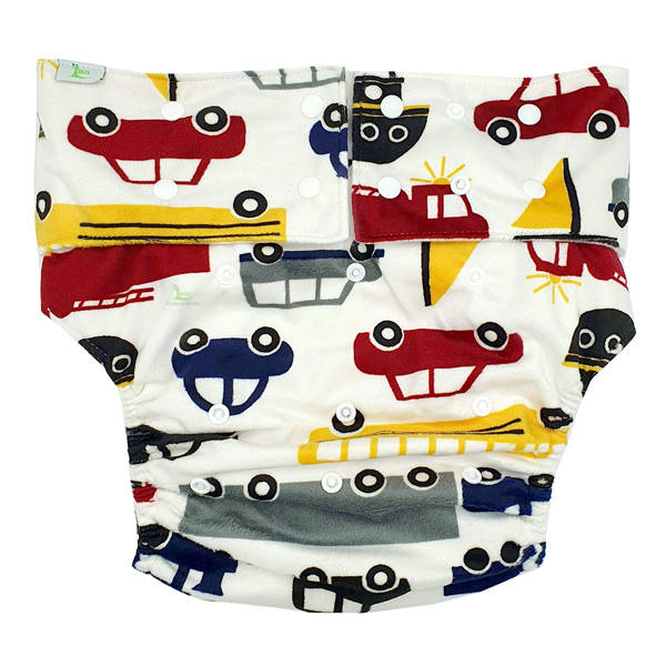 Adult Cloth Nappy Minky Cars Front