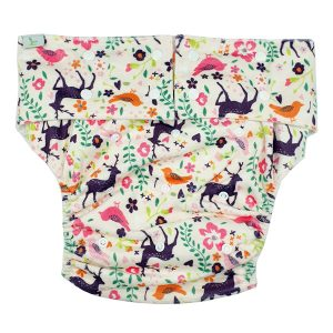 Adult Cloth Nappy Minky Purple Deer Front
