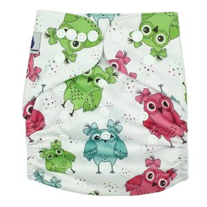 Pigtale Owls Modern Cloth Nappy Front