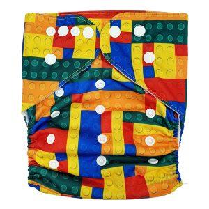 Toddler XL Cloth Nappy Lego Bricks Front