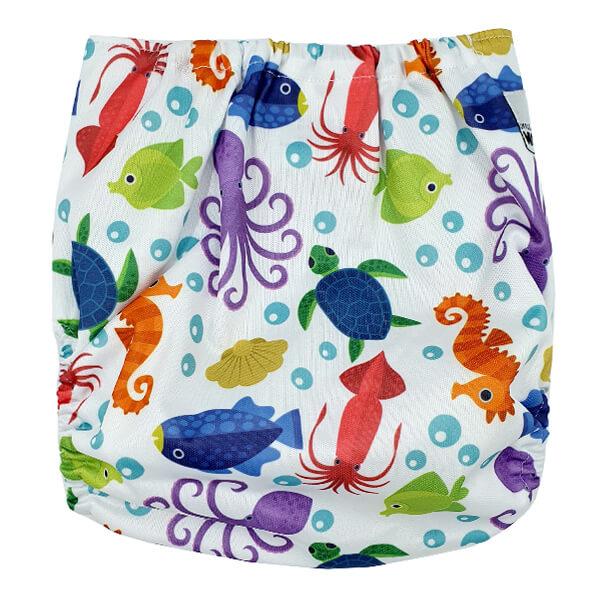 Sea Creatures Modern Cloth Nappy Back