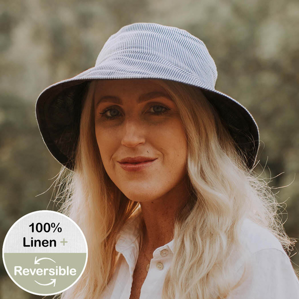 Ladies Reversible Sun Hat Charlie-Indigo Front