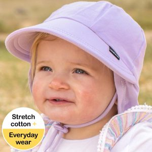 Lilac Baby Flap Hat Front