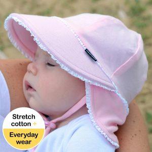 Newborn Flap Hat Pink Ruffle Side