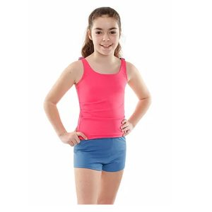 Girls Pink Tankini With Shorts Model Front
