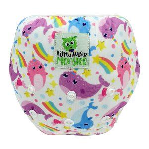 Baby washable swim nappy Rainbow Whales Front