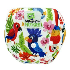 Baby washable swim nappy Tropical Birds Front