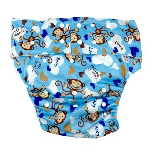 Adult Cloth Nappy Cheeky Boy Monkey Front