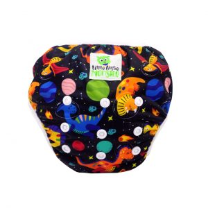 Baby washable swim nappy Space Dino Front