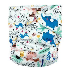 Jungle Elephants XL Junior Cloth Nappy Front
