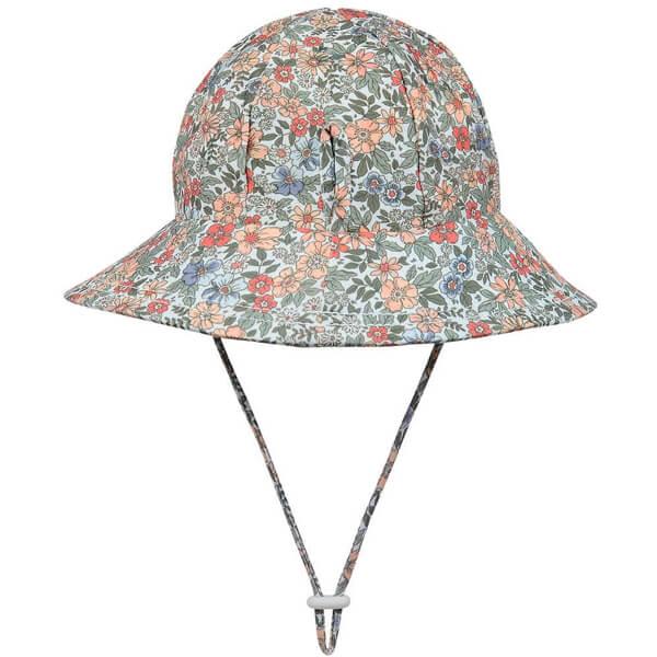Girls Swim Hat Bucket Flower Back