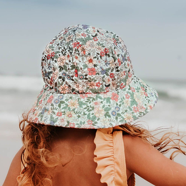 Girls Swim Hat Bucket Flower Model Back